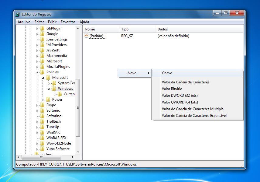 """Crie o arquivo """"Explorer"""" na pasta """"Windows"""" se ela ainda não existir"""