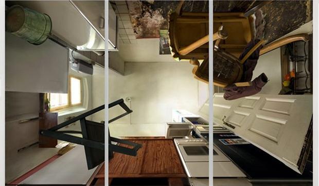 Cozinha também foi fotografada de baixo pra cima (Foto: Michael H. Rohde)