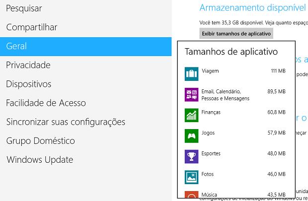 Lista de apps por ordem de tamanho (Foto: Reprodução/Helito Bijora)