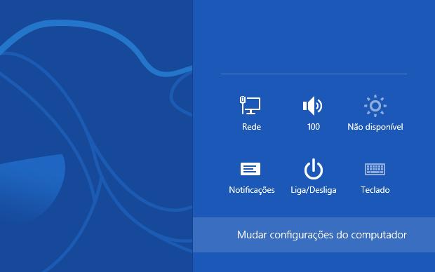 Acessando as configurações do Windows 8 (Foto: Reprodução/Helito Bijora)