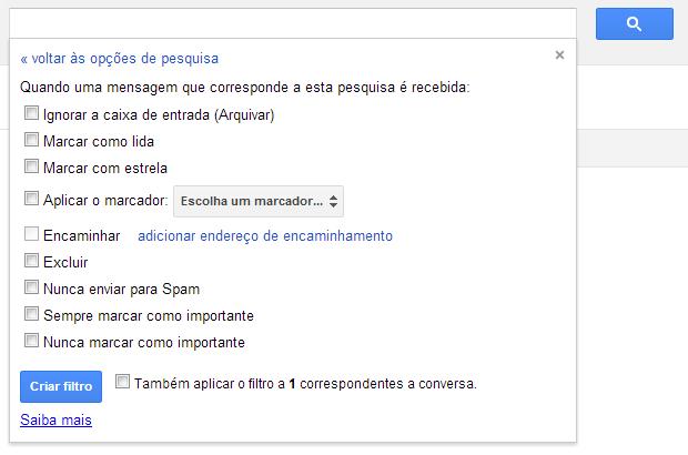 Tela de definição das ações de um filtro no Gmail (Foto: Reprodução/Ricardo Fraga)