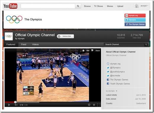 Canal olímpico do YouTube fez um grande sucesso (Foto: Reprodução)