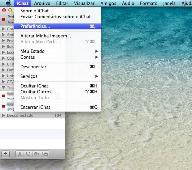 Abrir as preferencias do iChat (Foto: Reprodução / Pedro Pisa)