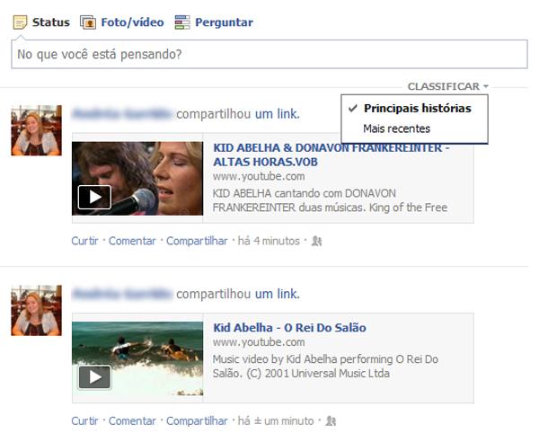 Filtrando o feed de notícias do Facebook com as postagens mais recentes (Foto: Aline Jesus/Reprodução)