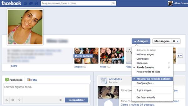 Ocultando postagens de um amigo em seu feed no Facebook (Foto: Aline Jesus/Reprodução) (Foto: Ocultando postagens de um amigo em seu feed no Facebook (Foto: Aline Jesus/Reprodução))