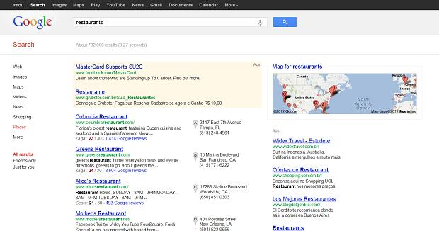 Ao clicar em 'Estou com fome' o Google sugere uma lista de restaurantes (Foto: Reprodução)