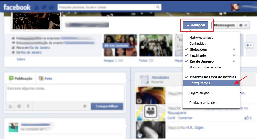 """Siga o caminho """"Amigos > Configurações"""" no perfil do amigo (Foto: Reprodução/Marcela Vaz)"""