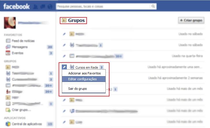"""Acesse a página """"Grupos"""" e edite as configurações (Foto: Reprodução/Marcela Vaz)"""