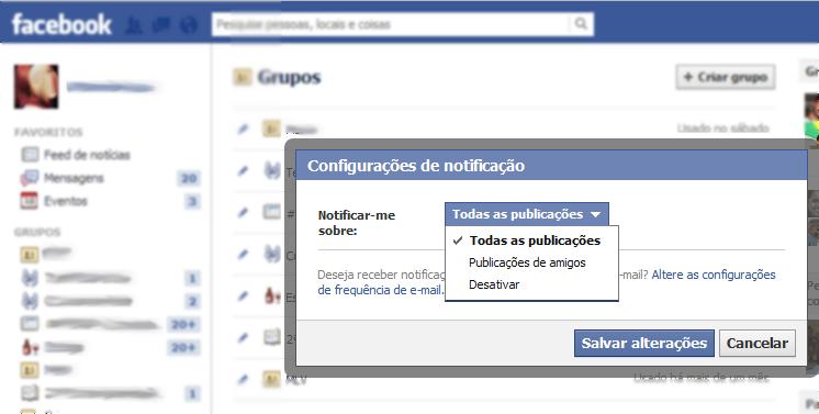 """Em, """"Configurações"""", escolha as atualizações que deseja rceber do grupo (Foto: Reprodução/Marcela Vaz)"""