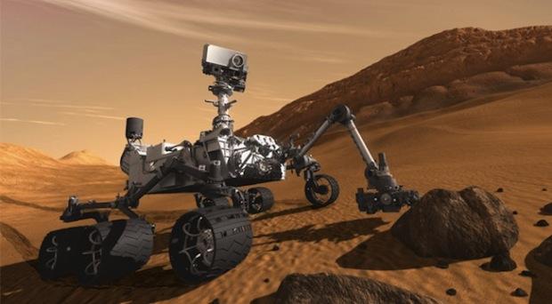 Ilustração do Curiosity na superfície de marte (Foto: Reprodução / ExtremeTech)