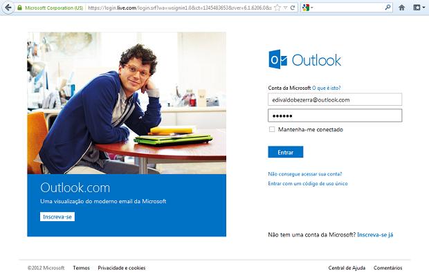 Entrando no Outlook.com (Foto: Reprodução/Edivaldo Brito)