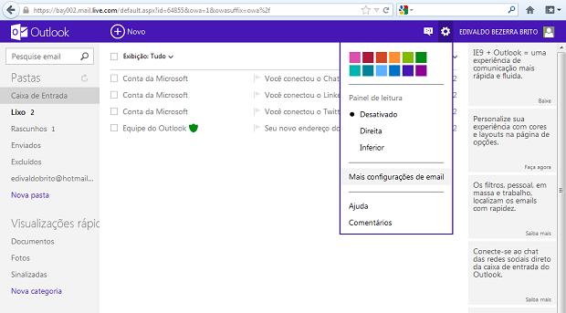 """Acessando a opção """"Mais configurações de e-mail"""" (Foto: Reprodução/Edivaldo Brito)"""