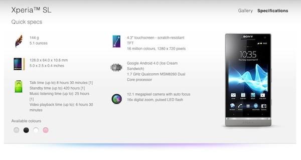 Xperia SL aparece no site da Sony (Foto: Reprodução)