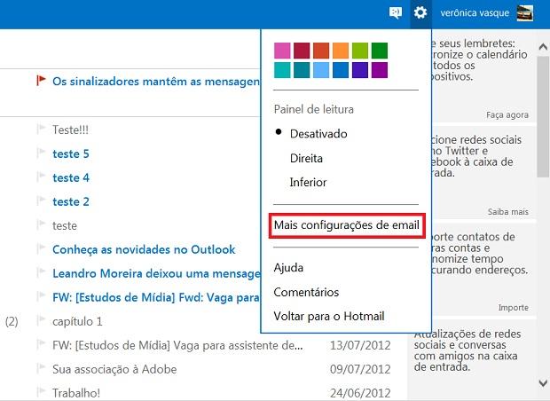 Clique na opção Mais configurações de e-mail (Foto: Reprodução/Verônica Vasque)