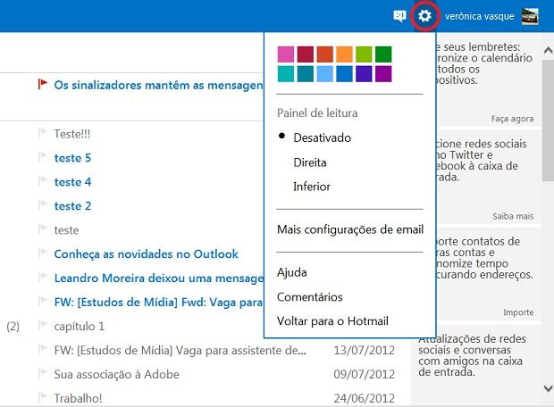 Clique no ícone da engrenagem (Foto: Reprodução/Verônica Vasque)