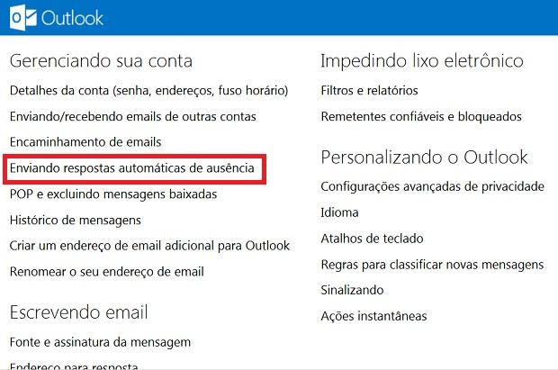 """Clique sobre a alternativa """"Enviando respostas automáticas de ausência"""" (Foto: Reprodução/Verônica Vasque)"""