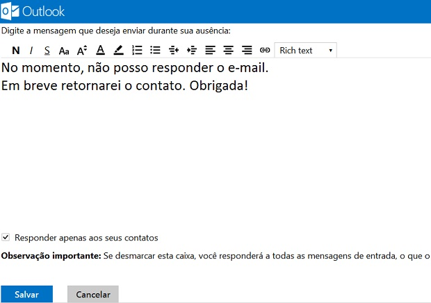 Digite uma mensagem para ser usada como sua resposta automática padrão de ausência (Foto: Reprodução/Verônica Vasque)