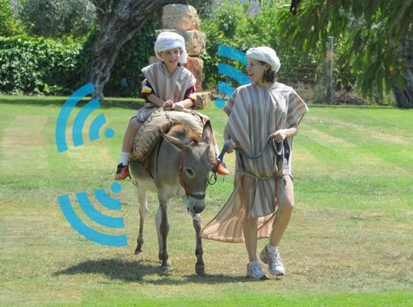 Wi-fi instalado em jegues no parque Kfar Kedem permite que visitantes compartilhem imagens e vídeos (Foto: Reprodução)