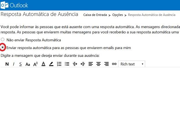Marque a opção Enviar resposta automática para as pessoas que enviarem emails para mim (Foto: Reprodução/Verônica Vasque)