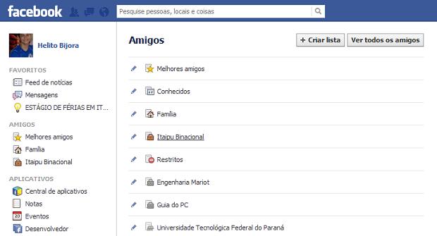 Acessando lista de amigos do Facebook (Foto: Reprodução/Helito Bijora)