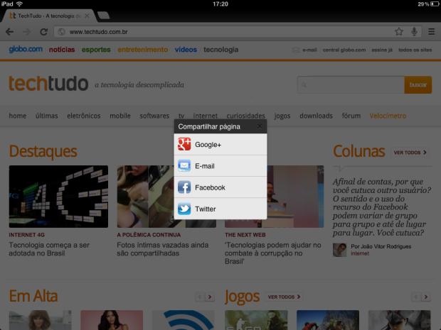 Chrome para iOS ganha compartilhamento de páginas com Twitter e Facebook (Foto: Reprodução/Ricardo Fraga)