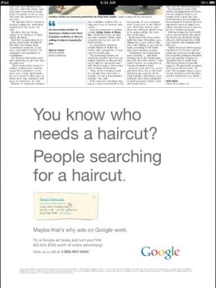 Anuncios do Google nos jornais