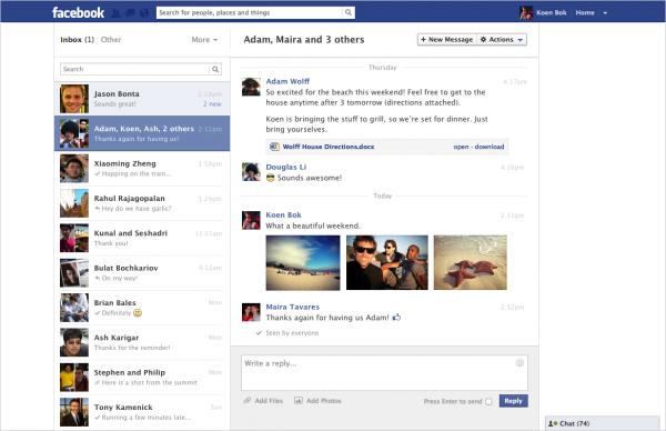 Nova caixa de mensagens do Facebook se parece com clientes de e-mail (Foto: Reprodução)