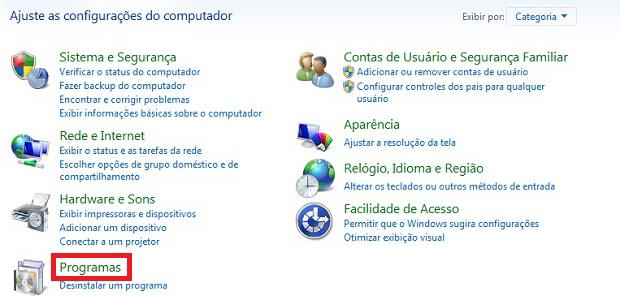 Clique sobre a alternativa Programas (Foto: Reprodução)