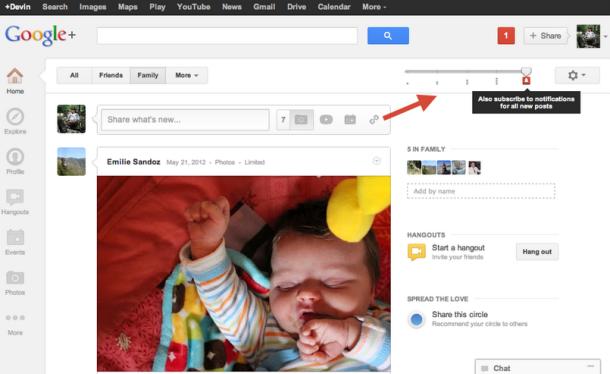 Nova barra de volume do Google+ permite controlar updates (Foto: Divulgação)