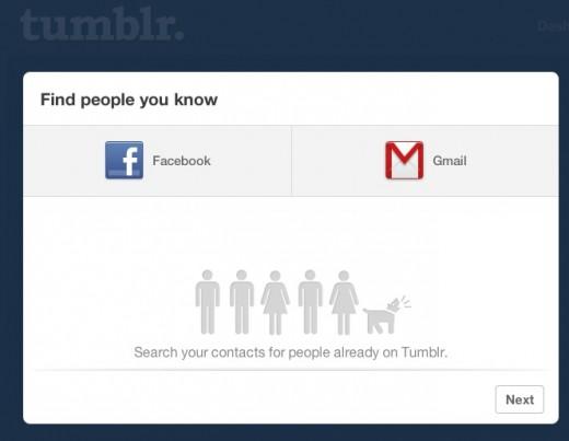 Opção para convidar amigos do Twitter sumiu do Tumblr (Foto: Reprodução)