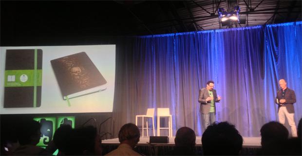 Phil Liben (Evernote) e Arrigo Berni (Moleskine) apresentam o Evernote Smart Notebook (Foto: Nick Ellis / TechTudo)