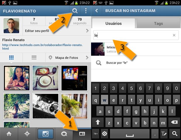 Procure pelo usuário que você deseja desbloquear no Instagram (Foto: Reprodução/Flávio Renato)