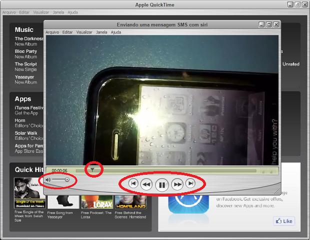 Os controles de som e reprodução de vídeo (Foto: Reprodução/Edivaldo Brito)