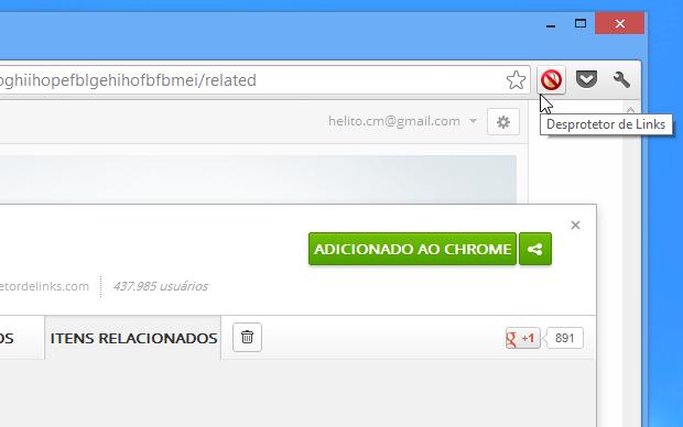 Botão deve ser acionado em páginas de protetores de link (Foto: Reprodução/Helito Bijora)