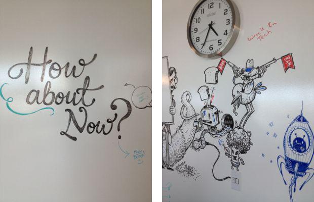 Mais arte nas paredes da Evernote (Foto: Nick Ellis)