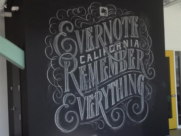 Painel pintado com giz na sede do Evernote (Foto: Nick Ellis)