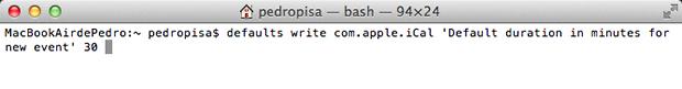 Comando no Terminal do Mac para trocar a duração padrão dos novos eventos (Foto: Reprodução)