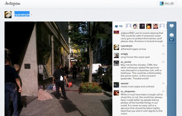 Atentado em frente ao Empire State, em Nova Iorque, foi registrado por usuário que publicou imagem no Instagram (Foto: Reprodução)
