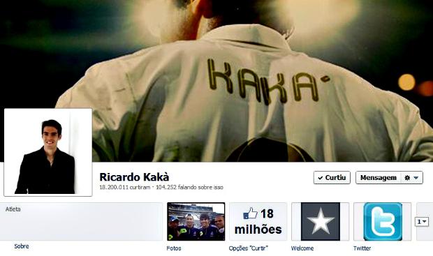 Kaká é o brasileiro mais curtido do futebol: 18 milhões de fãs (Foto: Reprodução)