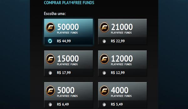 Preços em reais