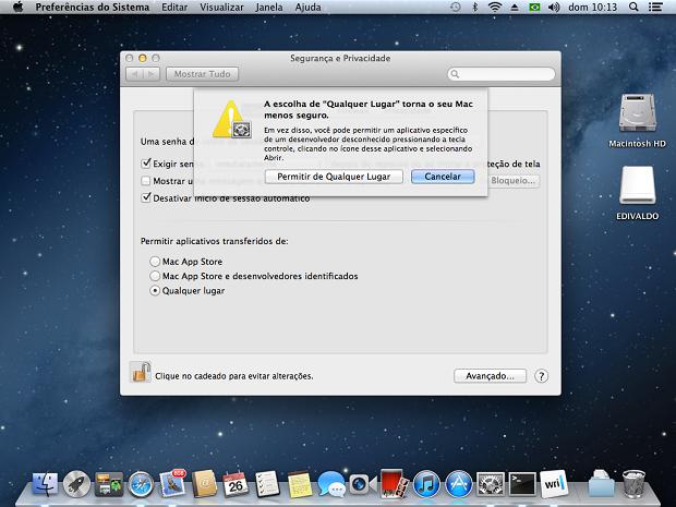 Habilitando a instalação de aplicativos de outros lugares além da Mac App Store (Foto: Reprodução/Edivaldo Brito)