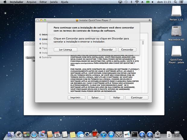 Concordando com os termos de uso do QuickTime 7.6.6 (Foto: Reprodução/Edivaldo Brito)
