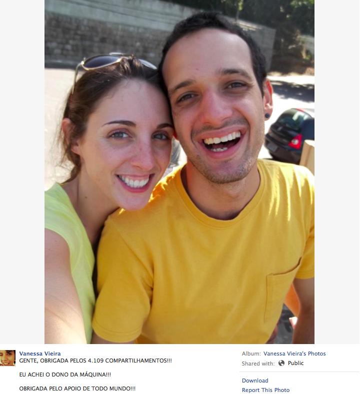 Post com agradecimento da menina que encontrou o dono da câmera (Foto: Reprodução/Facebook)