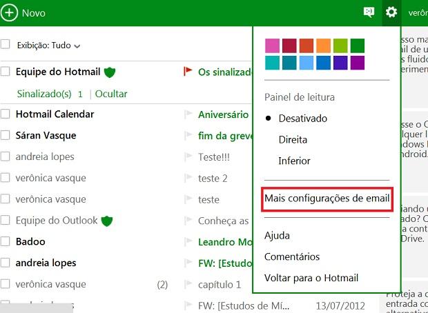 Selecione a opção Mais configurações de email (Foto Reprodução Verônica Vasque)