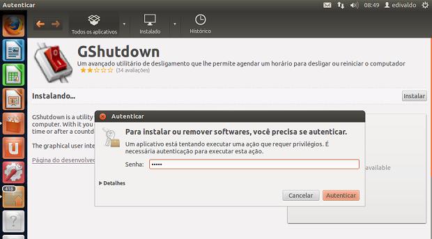 Instalando o GShutdown no Ubuntu (Foto: Reprodução/Edivaldo Brito)