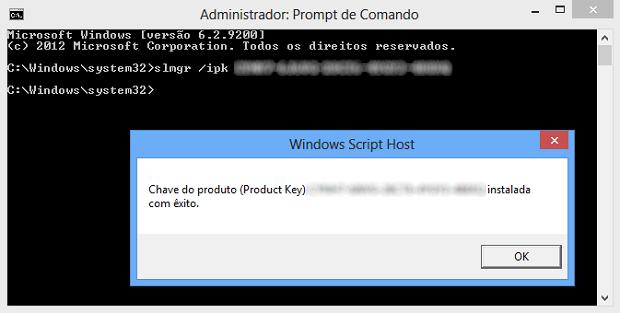 Alterando o serial do Windows 8 (Foto: Reprodução/Helito Bijora)