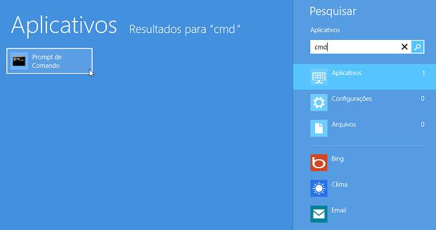 Pesquisando no Iniciar do Windows 8 (Foto: Reprodução/Helito Bijora)