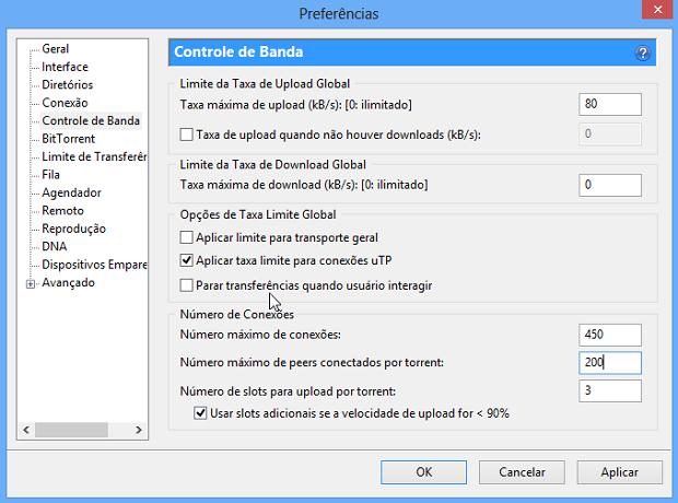 Configurações do uTorrent (Foto: Reprodução/Helito Bijora)