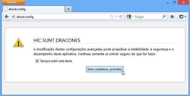 Acessando configurações avançadas do Firefox (Foto: Reprodução/Helito Bijora)
