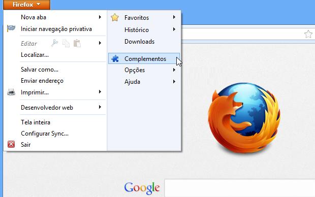 Acessando os plugins do Firefox (Foto: Reprodução/Helito Bijora) (Foto: Acessando os plugins do Firefox (Foto: Reprodução/Helito Bijora))